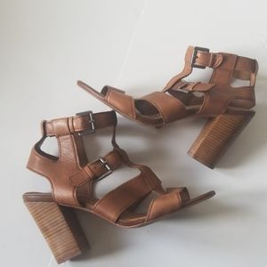 ALDO leather brown sandal heels size 9